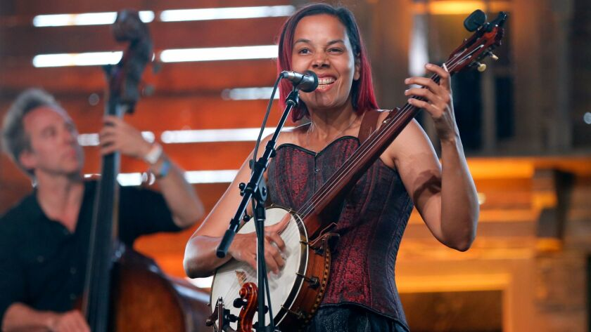 INDIO, CALIF. -- FRIDAY, APRIL 28, 2017: Rhiannon Giddens performs on the Mustang Stage on the first