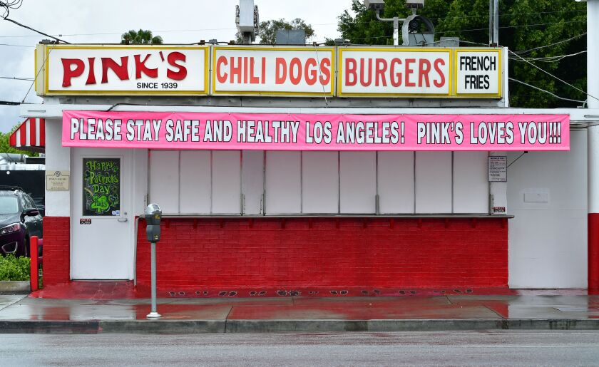 "A message from Los Angeles' most famous hot dog stand urges Los Angeles to ""please stay safe and healthy."""