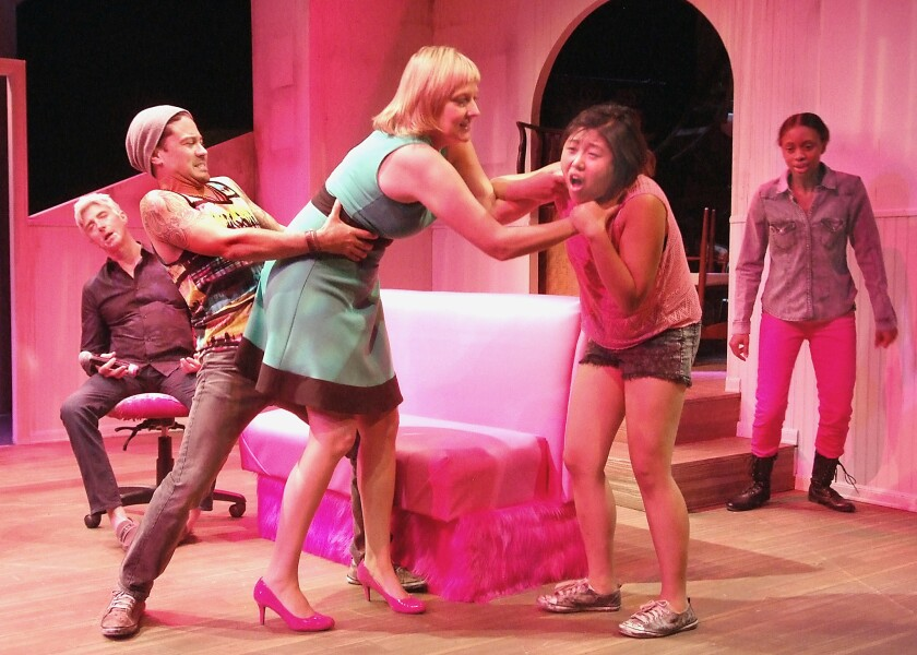 """The five people who inhabit the Los Angeles portrayed in Alice Tuan's play """"Hit,"""" now playing at the Los Angeles Theatre Center, have a volatile rapport."""