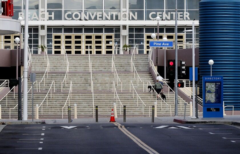 The convention center in Long Beach was almost completely deserted Saturday.