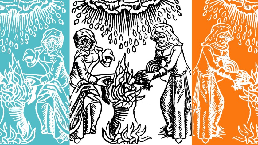 """A frontispiece to a tract by German legal scholar Ulrich Molitor in 1489 depicts witches brewing """"weather magic."""""""