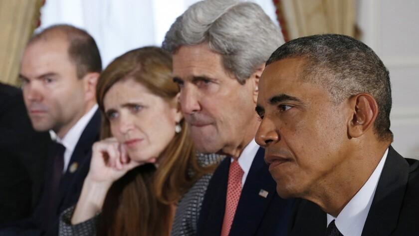 "Ben Rhodes, left, Samantha Power, John Kerry, Barack Obama in ""The Final Year"""
