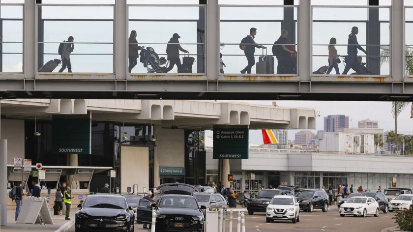 SAN DIEGO, CA 2/1/2019: Travelers use the Terminal 1 Skybridge, at San Diego International Airport.