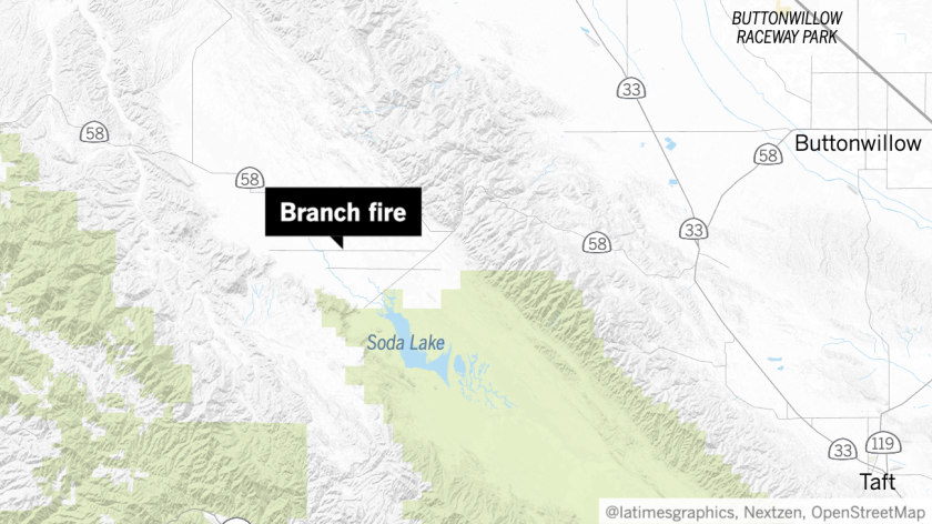 Map showing location of Branch fire in San Luis Obispo County