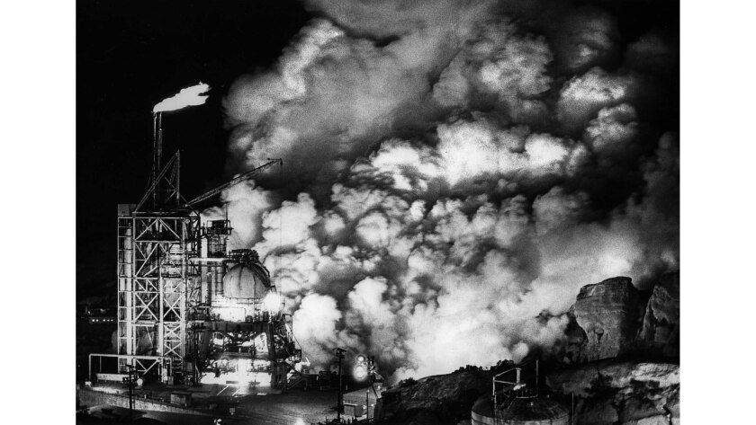 Feb. 4, 1985: A rocket test causes billowing smoke on a cold night at Rocketdyne in the Santa Susana Mountains above the San Fernando Valley.