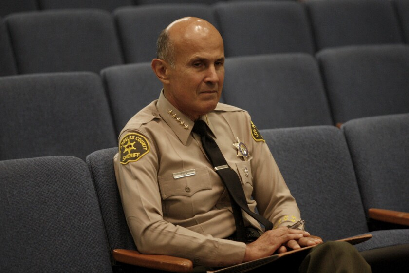 L.A. County Sheriff Lee Baca at a Board of Supervisors meeting earlier this year.