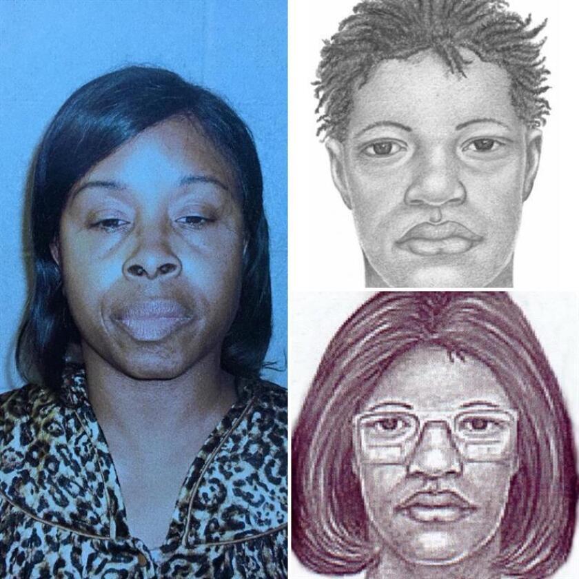 """Composición divulgada por la oficina del alguacil de Jacksonville (Florida) que muestra la foto de la ficha policial de Gloria Williams (i) y los retratos robot que se hicieron en su momento para tratar de encontrarla. Williams, de 51 años, fue detenida en un pueblo de Carolina del Sur, donde vivió desde 1998 con la niña a la que secuestró hace 18 años en un hospital de Jacksonville. """"Kamiyah Mobley ha sido localizada sana y salva"""", anunció Mike Williams, jefe de la Comisaría de Jacksonville. EFE/SÓLO USO EDITORIAL/NO VENTAS"""