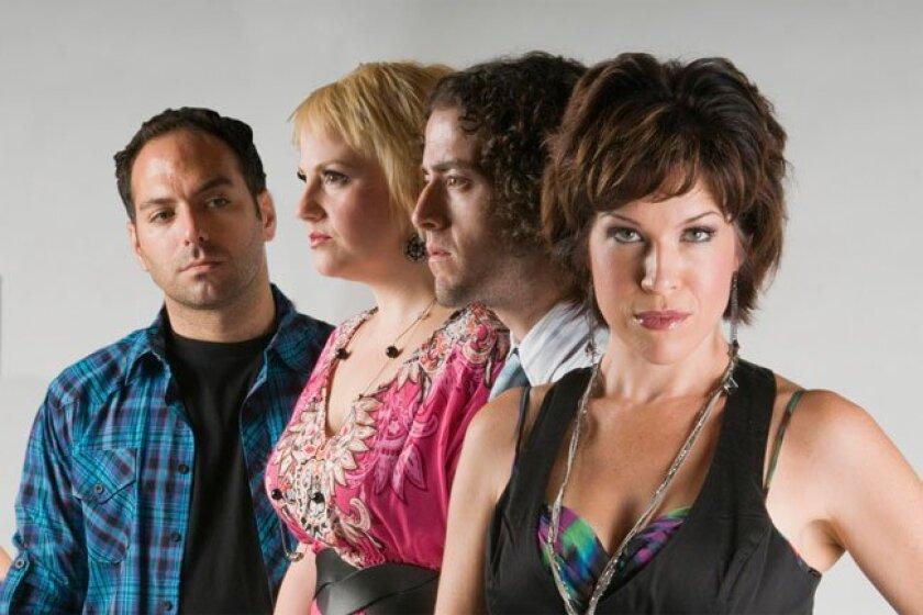 "Spencer Rowe, Season Marshall Duffy, Louis Pardo and Joy Yandell of Lamb's Players Theatre show ""miXtape."""
