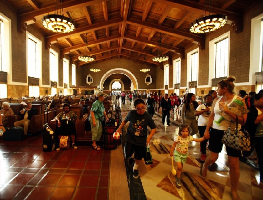 A passenger terminal at Los Angeles Union Station, which will be getting new tracks through an investment by the state's high-speed rail authority.