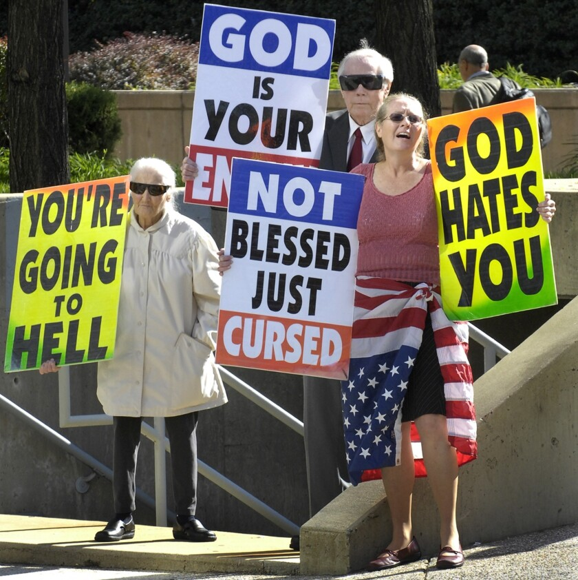 Members of the Westboro Baptist Church are seen demonstrating outside the federal courthouse in Baltimore, Md. in 2007.