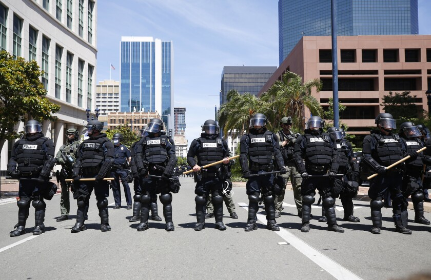 San Diego police in riot gear
