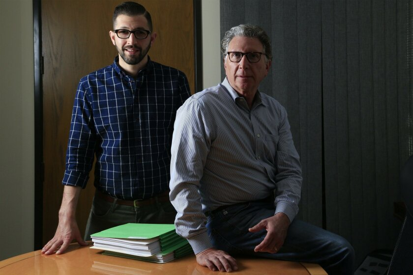 NATIONAL CITY  CA, USA -- FEBRUARY 22, 2016:   |  Attorneys Irwin Zalkin (right) and his son Alex Zalkin (left) at their office in Del Mar.  The father and son law practice pursue sex abuse cases particularly campus assaults.  |  Mandatory Credit: PHOTO BY NELVIN C. CEPEDA, SAN DIEGO UNION-TRIBUNE