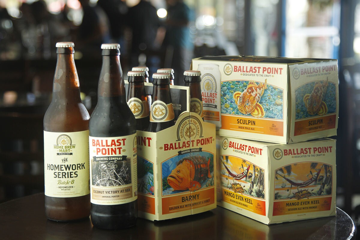 A variety of canned and bottled beers at Ballast Point Tasting Room & Kitchen in San Diego's Little Italy. (Photo by K.C. Alfred/The San Diego Union-Tribune)