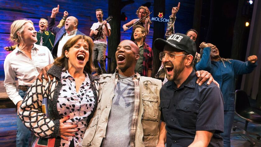 """Sharon Wheatley, Rodney Hicks and Geno Carr (from left) in """"Come From Away"""" on Broadway."""