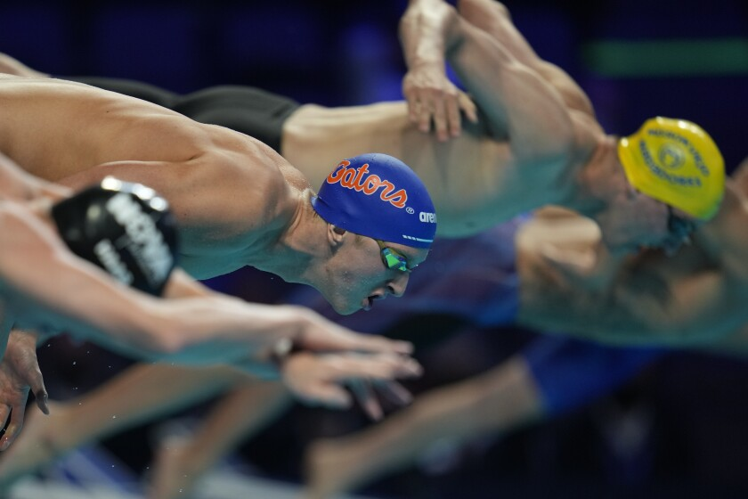 Kieran Smith participates in the Men's 200 Freestyle during wave 2 of the U.S. Olympic Swim Trials on Tuesday, June 15, 2021, in Omaha, Neb. (AP Photo/Jeff Roberson)