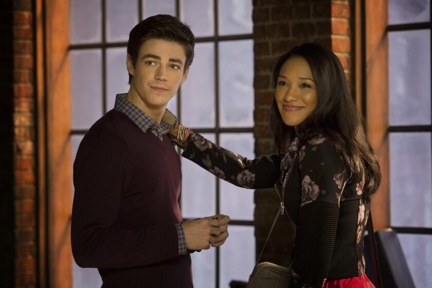 """Grant Gustin as Barry Allen and Candice Patton as Iris West in CW's """"The Flash."""""""