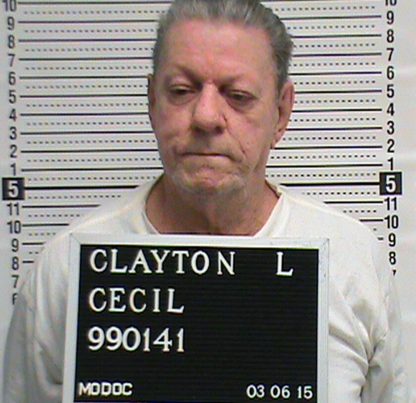 In this March 6, 2015 photo provided by The Missouri Department of Corrections is Cecil Clayton, 74, Missouri's oldest death row inmate. Clayton was convicted of gunning down Christopher Castetter, a sheriff's deputy in rural southwest Missouri's Barry County in 1996. (AP Photo/Missouri Department