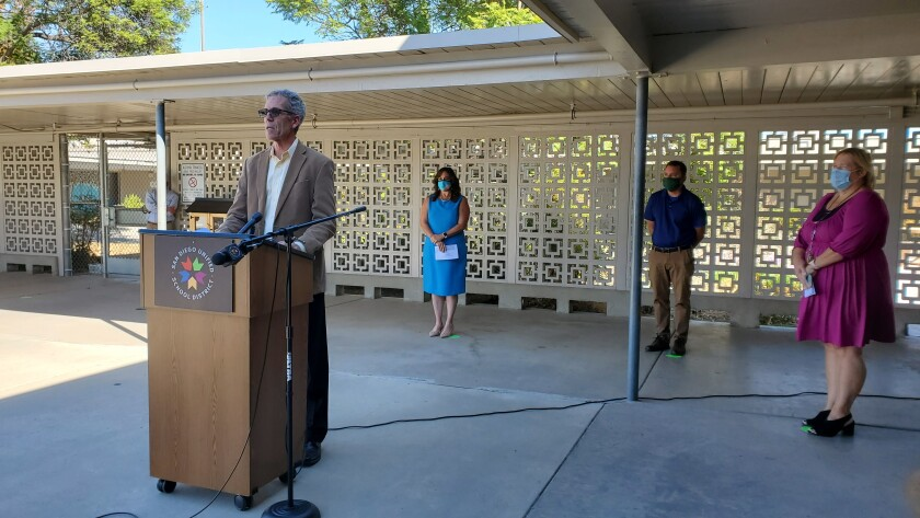 San Diego Unified Board President John Lee Evans speaks about the district's reopening.