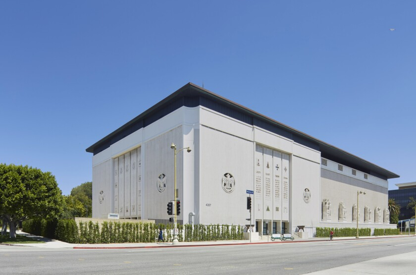 The Marciano Art Foundation is housed in a former Masonic temple on Wilshire Boulevard near Koreatown.