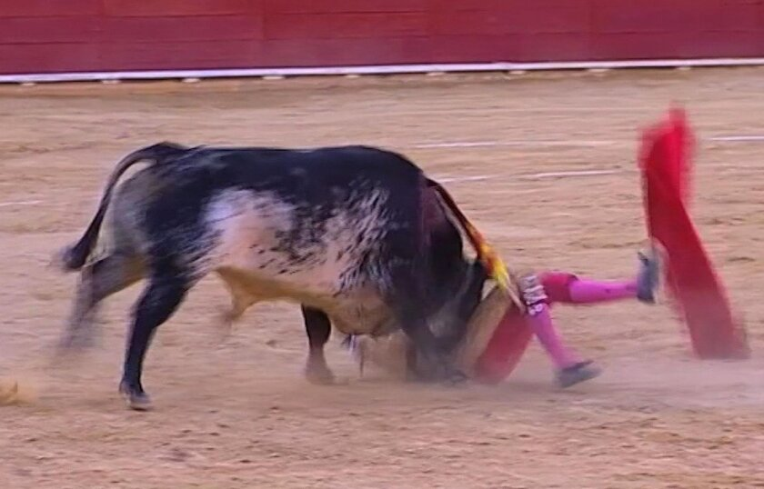 This framegrab taken from Castilla La Mancha TV shows matador Victor Barrio being gored by a bull during a bullfight in the Teruel bullring, east of Spain, Saturday July 9, 2016. Victor Barrio, 29, was fatally gored, the first professional matador to be killed in the ring in more than three decades