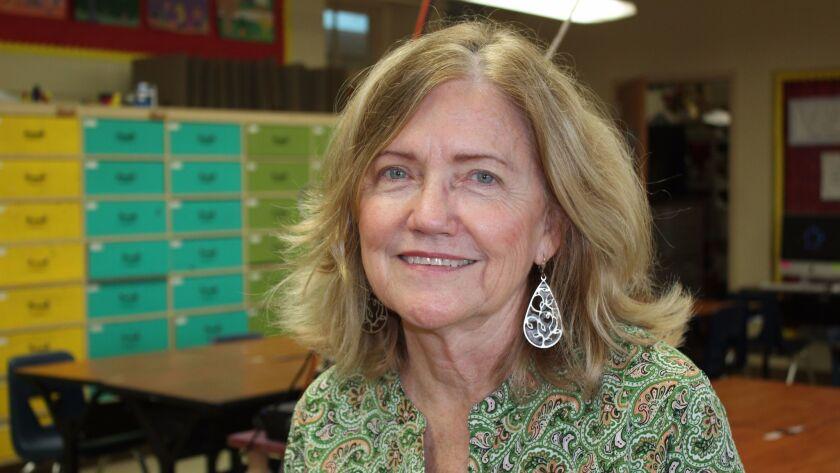 Retiring La Jolla High art teacher Carol Shamrock in the classroom where she taught for 26 years