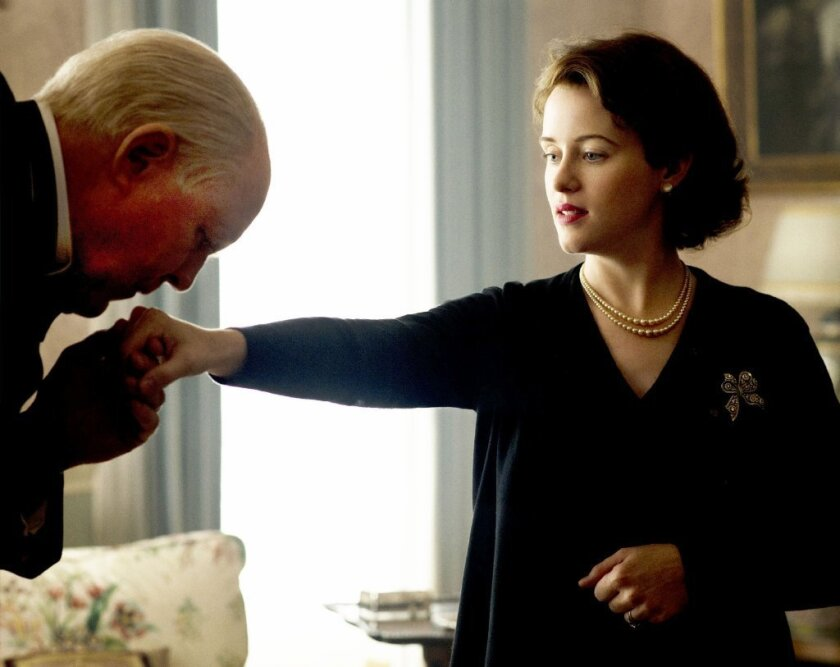 """Working together on """"The Crown,"""" the Netflix series about the English monarchy, is something of a love fest for John Lithgow, who plays Winston Churchill, and Claire Foy, who plays Queen Elizabeth II."""