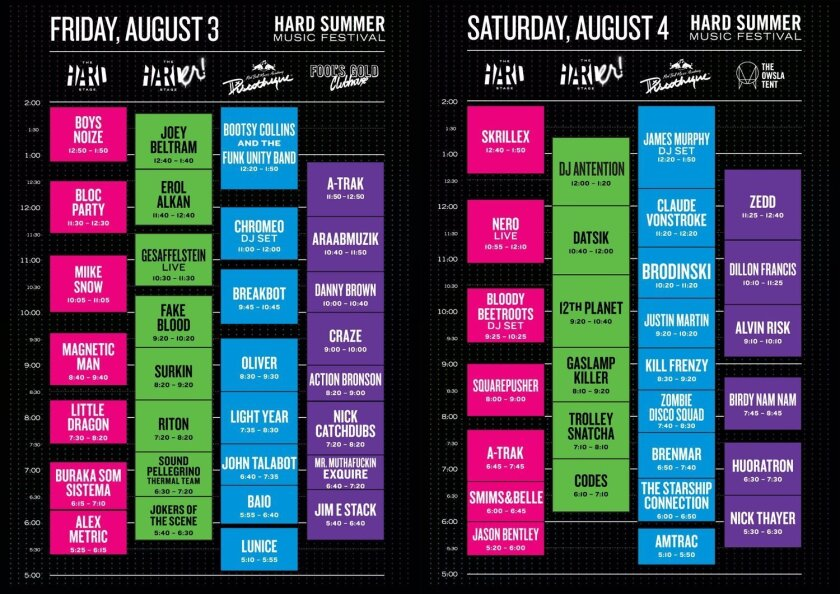 2012 Hard Summer Music Festival lineup and set times