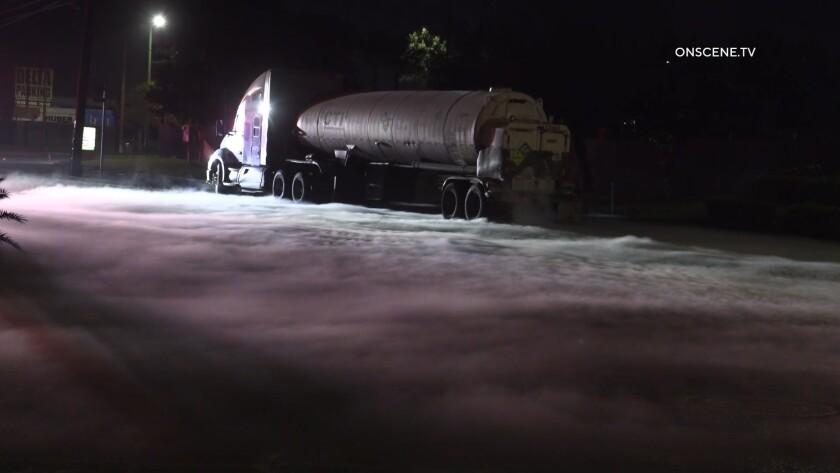 A tanker leaking liquid oxygen left a blanket of white on a street near Otay Mesa early Thursday