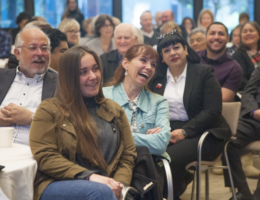 Attendees react to Father Gregory Boyle at Monday's Los Angeles Times Book Club event at the California Endowment downtown.
