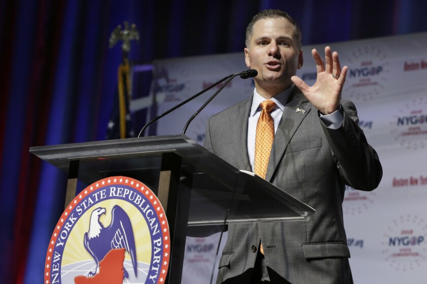 Dutchess County Executive Marc Molinaro delivers his designation acceptance speech as the Republican candidate for governor at the New York state Republican Convention, in New York, Wednesday, May 23, 2018.