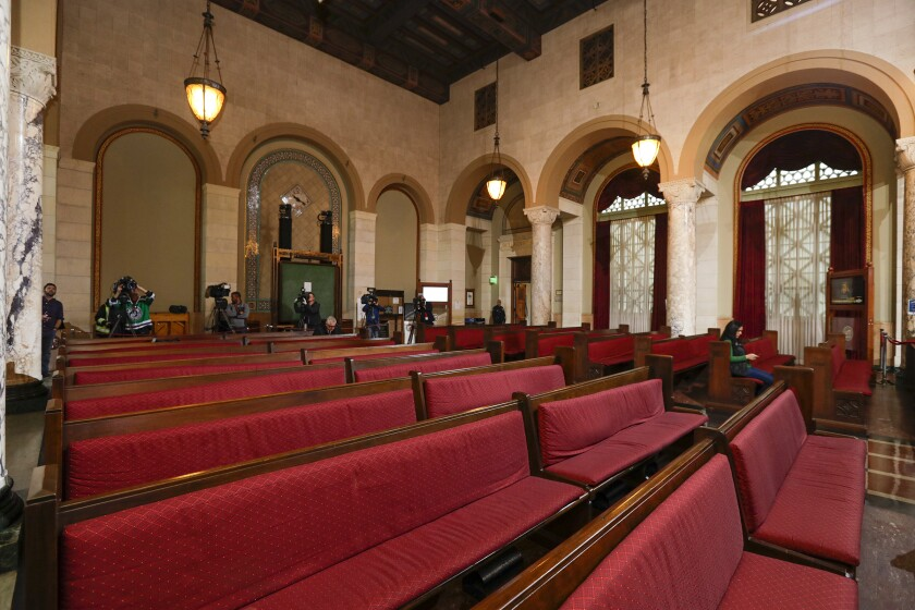 Empty public seating in Los Angeles City Council chamber