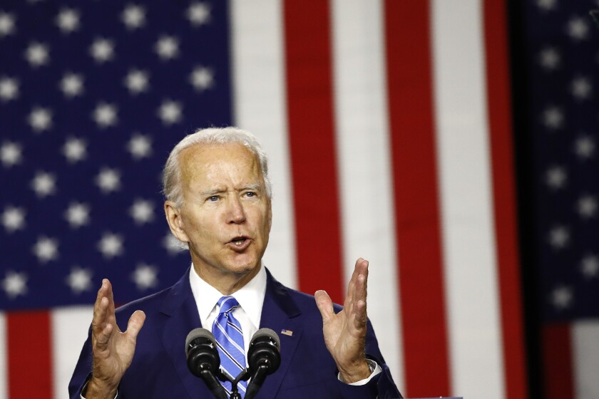 Joe Biden speaks during a campaign event Tuesday in Wilmington, Del.