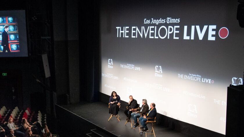 "The Times' Yvonne Villarreal moderates a discussion at the L.A. Times Envelope Live screening of ""Better Call Saul"" at the Montalbán with star Bob Odenkirk and executive producers Peter Gould and Thomas Schnauz."