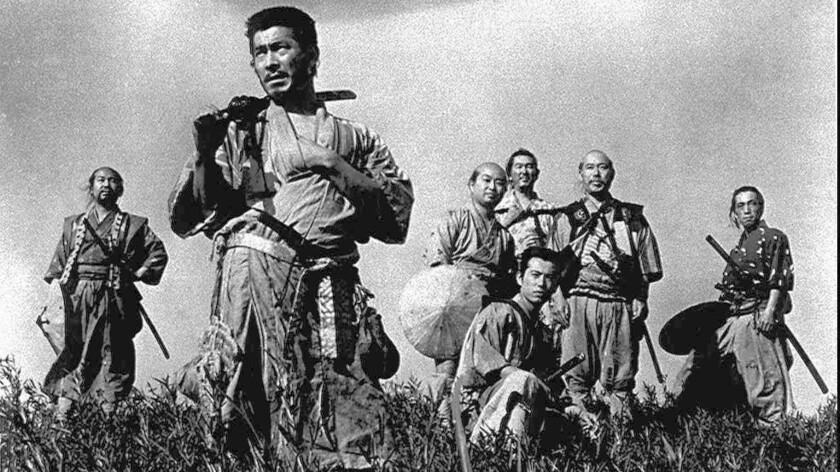 Toshiro Mifune, foreground, took on an influential role by starring in Akira Kurosawa s 1954 classic, Seven Samurai.