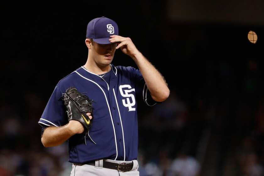 Starting pitcher Drew Pomeranz #13 of the San Diego Padres reacts as he pitches during the second inning of the MLB game against the Arizona Diamondbacks at Chase Field on May 29, 2016 in Phoenix, Arizona. (Photo by Christian Petersen/Getty Images)
