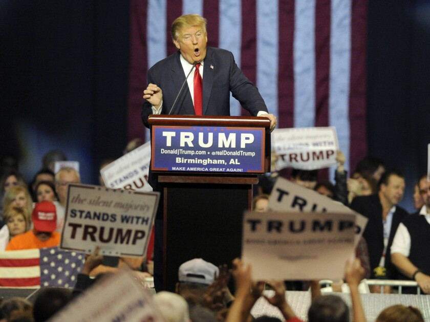 Republican presidential candidate Donald Trump speaks during a campaign stop in Birmingham, Ala. on Saturday, Nov. 21.