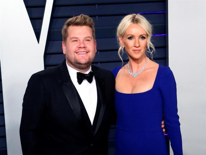 British actor and comedian James Corden (L) and US television producer Julia Carey (R) pose at the 2019 Vanity Fair Oscar Party following the 91th annual Academy Awards ceremony, in Beverly Hills, California, USA. EFE/EPA/FILE