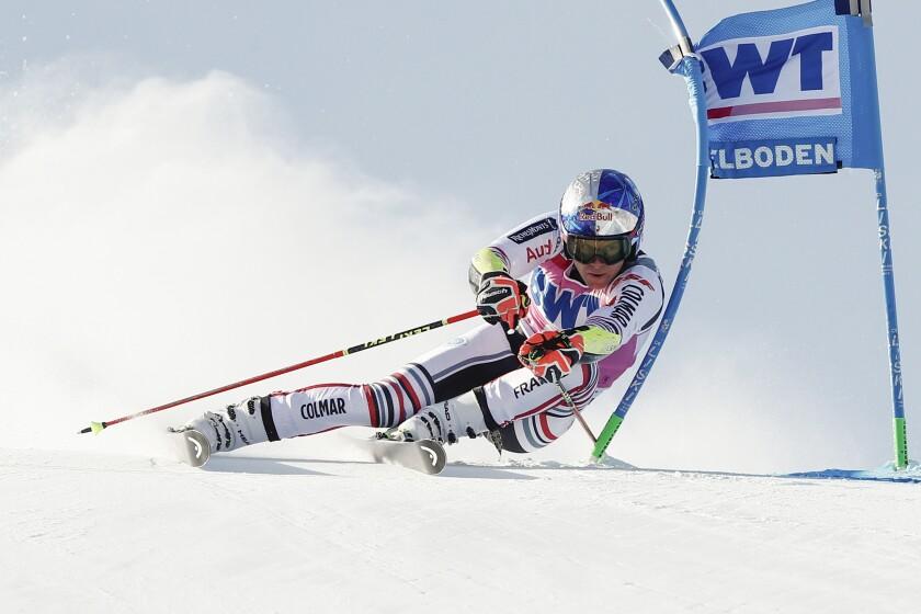France's Alexis Pinturault speeds down the course during an alpine ski, men's World Cup Giant slalom, in Adelboden, Switzerland, Saturday, Jan. 9, 2021. (AP Photo/Gabriele Facciotti)