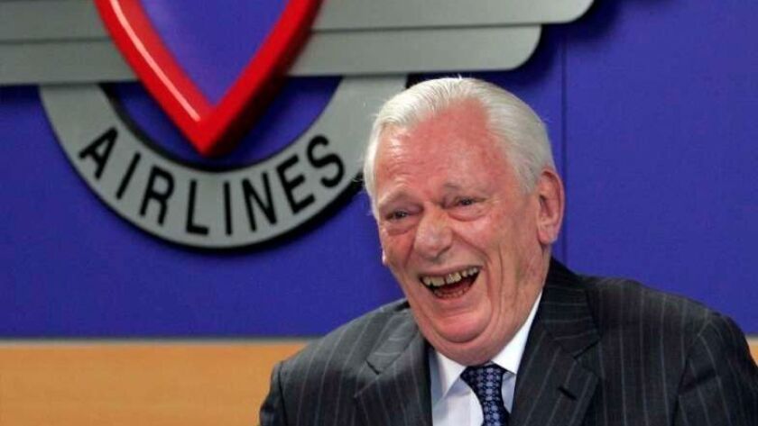 Herb Kelleher, then outgoing executive chairman of Southwest Airlines, reacts to a joke at the airline's 31st annual shareholders meeting in Dallas on May 21, 2008. Kelleher died Thursday at 87.