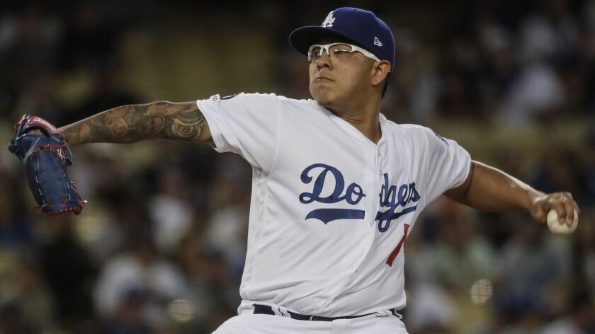 LOS ANGELES, CA, MONDAY, APRIL 1, 2019 - Dodgers starting pitcher Julio Urias pitches in the first i