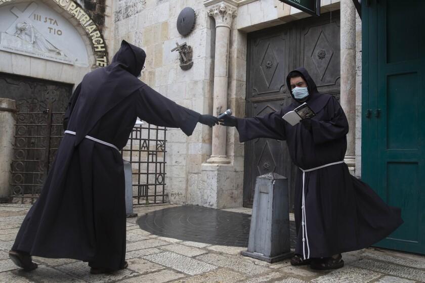 Franciscan monks in Jerusalem's Old City