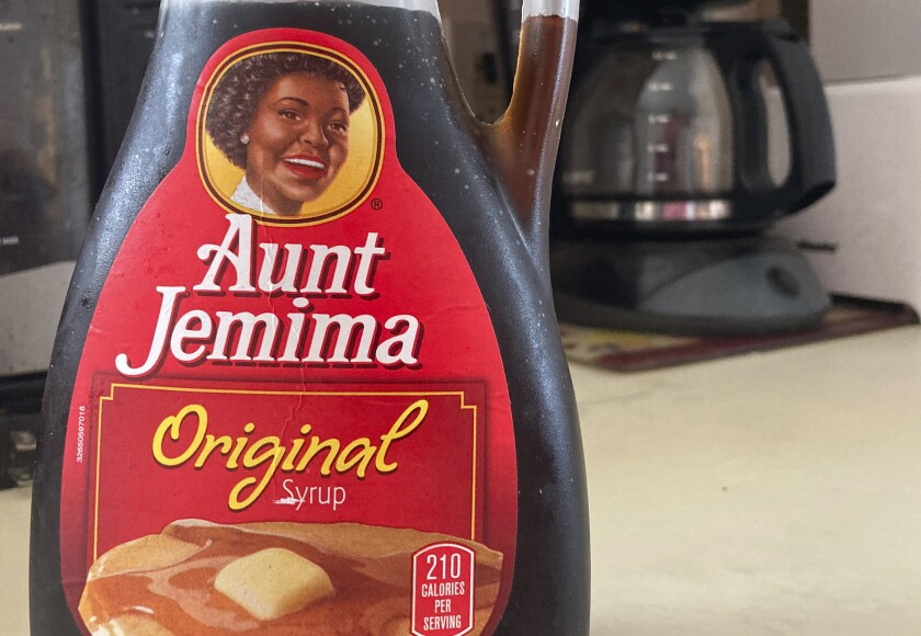 A bottle of Aunt Jemima syrup sits on a counter in White Plains, N.Y.