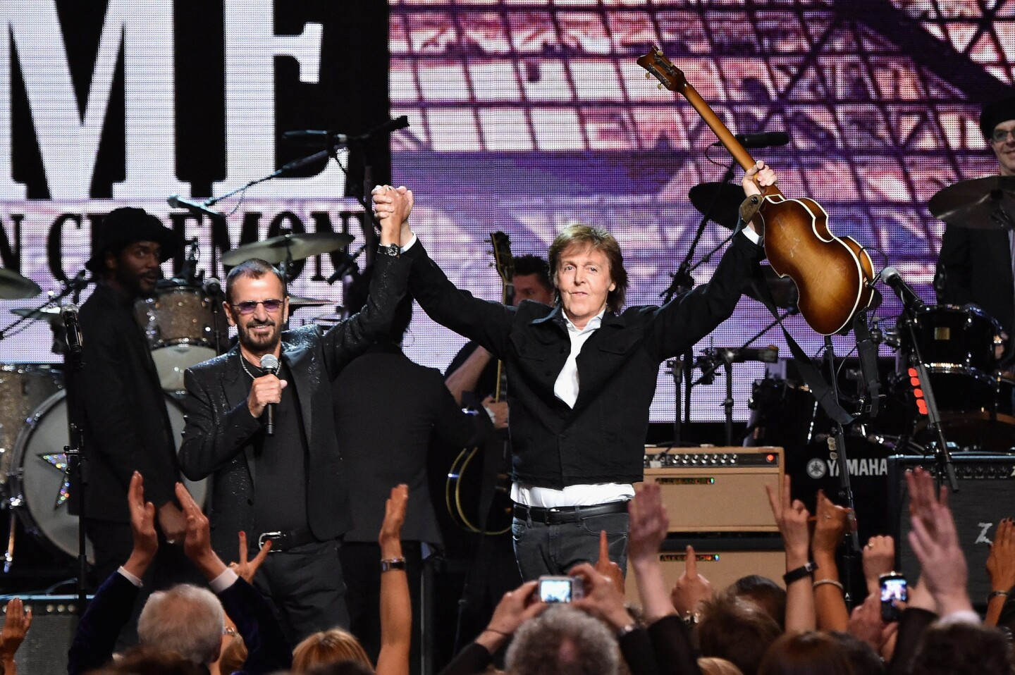 Inductee Ringo Starr, left, and Paul McCartney at the Rock and Roll Hall of Fame induction ceremony in Cleveland.