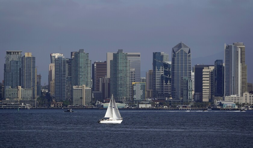 San Diegans are pessimistic about the future, a new study shows. Pictured: A boat sails in San Diego Bay.