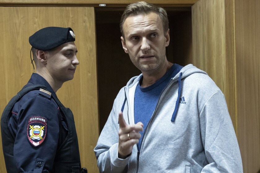 Russian opposition leader Alexei Navalny in a Moscow courtroom in August 2018.