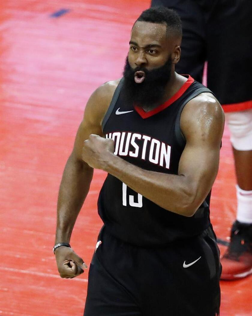 James Harden #13 of the Houston Rockets reacts in the second quarter of Game Seven of the Western Conference Finals of the 2018 NBA Playoffs at Toyota Center against the Golden State Warriors on May 28, 2018 in Houston, Texas.