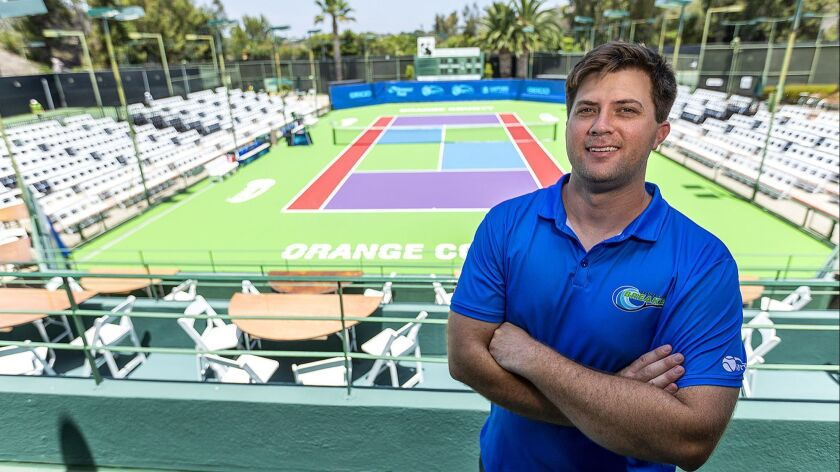 Orange County Breakers general manager Allen Hardison poses for a portrait at the Palisades Tennis C