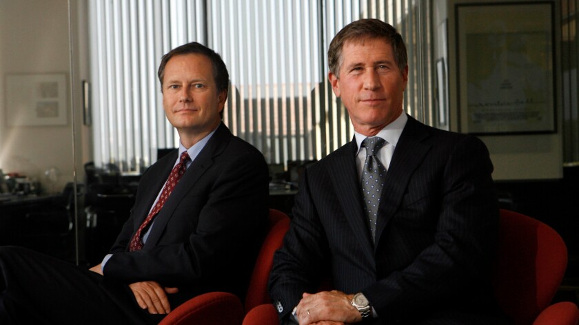 Lionsgate Vice Chairman Michael Burns, left, and CEO Jon Feltheimer are shown at the Lionsgate offices in Santa Monica.
