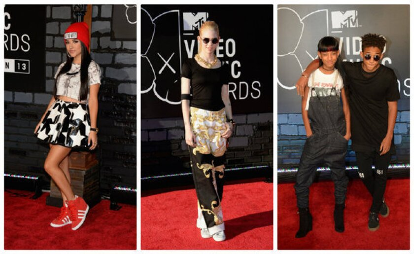 Becky G, left, Grimes (Detail: Versace pants), and Willow Smith and Jaden Smith attend the 2013 MTV Video Music Awards at the Barclays Center on Sunday in the Brooklyn.