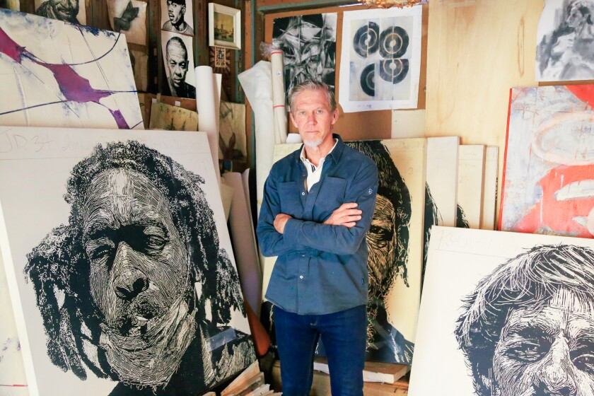 """In the film """"Social Justice,"""" the audience will see large portraits of homeless people by artist Neil Shigley."""
